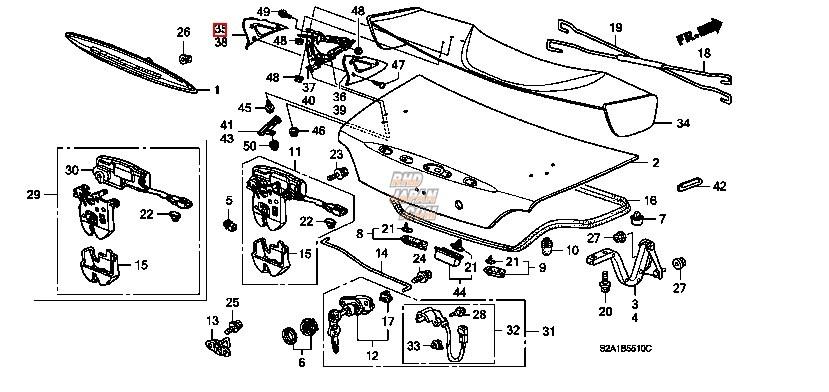 Honda OEM Type-S Trunk Lid Spoiler Outer Foot Right RP42P - S2000 AP2