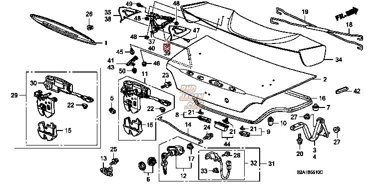 Honda OEM Type-S Trunk Lid Spoiler Inner Foot Right Y65P - S2000 AP2