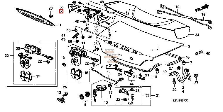 Honda OEM Type-S Trunk Lid Spoiler Outer Foot Left NH609P - S2000 AP2