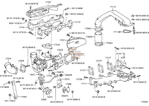 Toyota OEM Turbo Outlet Elbow Gasket - KZJ71G
