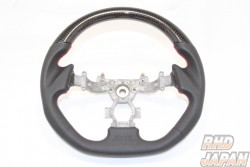 RH9 Original Steering Wheel Dry Black Carbon Red Stitch - R35