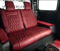 Wald Seat Cover Set Front and Rear Bordeaux Base Wine Stitch Black Bison Design Head Rest - JB74