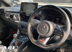 Auto Craft Evolution A.C.E. Sports Steering Monitor Black Leather Red Stitching Black Carbon - GR Yaris GXPA16
