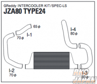 Trust GReddy Front Mounted Intercooler Kit TYPE24F use with OEM turbine - JZA80