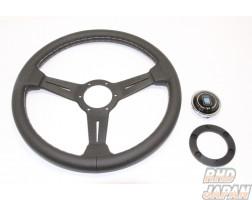NARDI Classic Steering Wheel Smooth Leather Black Spoke - 340mm