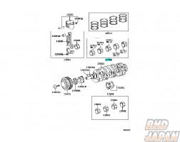 TOYOTA OEM Bearing Set - 0.25 Crankshaft Altezza Caldina Celica MR-2 RAV4